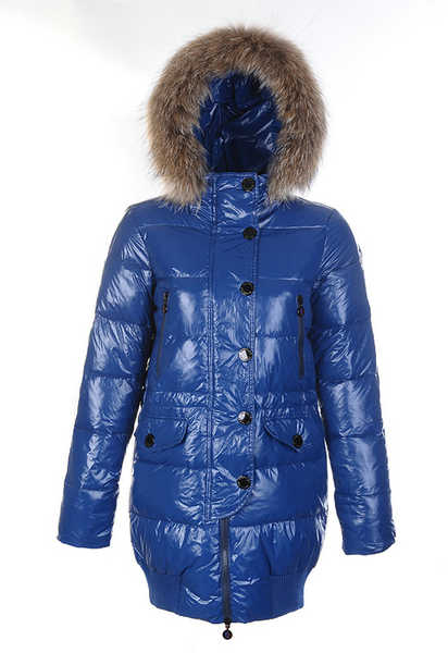 Coats Moncler Loire Doudounes Fur Hooded Blue
