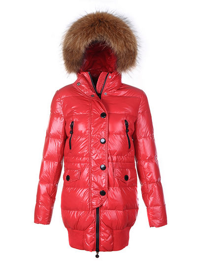Coats Moncler Loire Doudounes Fur Hooded Red