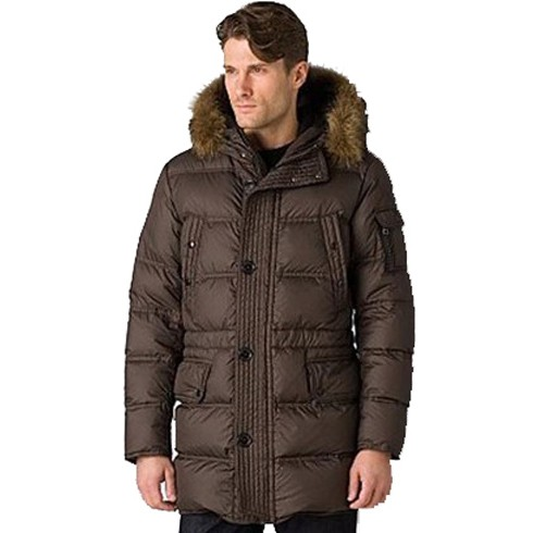 Moncler Affton Quilted Leather Fur Hooded Brown Coat Men