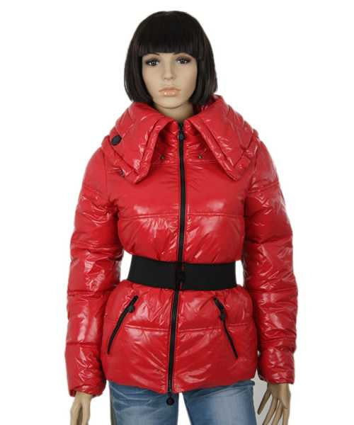 Moncler Aliso Designer Women Down Jackets With Belt Dark Red