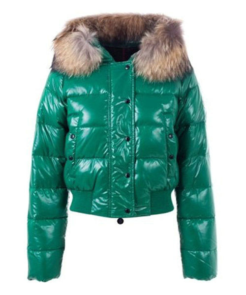 Moncler Alpin Classic Eider Down Jackets Women Fur Collar Green