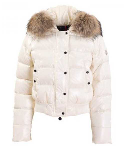 Moncler Alpin Classic Eider Down Jackets Women Fur Collar White
