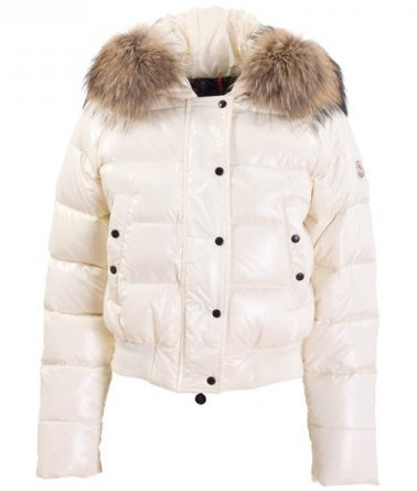 Moncler Alpin Down Jacket Women Fur Hood White