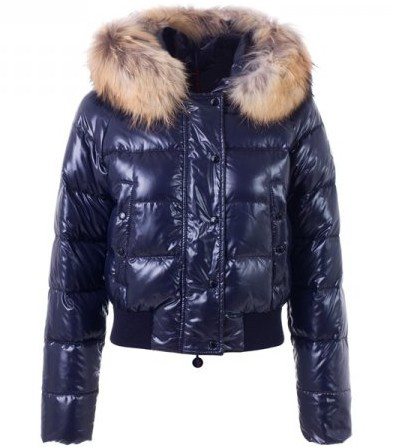 Moncler Alpin Women Jackets fur hat blue
