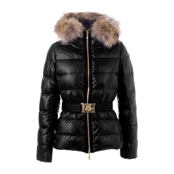 Moncler Angers Belted Quilt Black Jacket Women