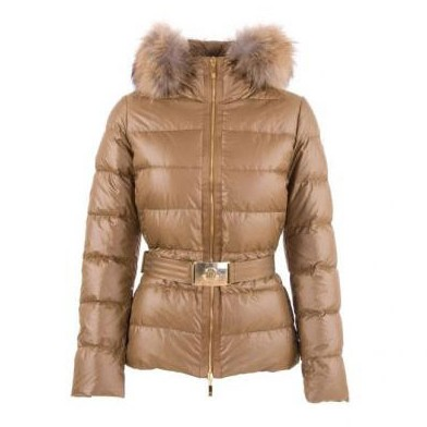 Moncler Angers Belted Quilt Brown Jacket Women