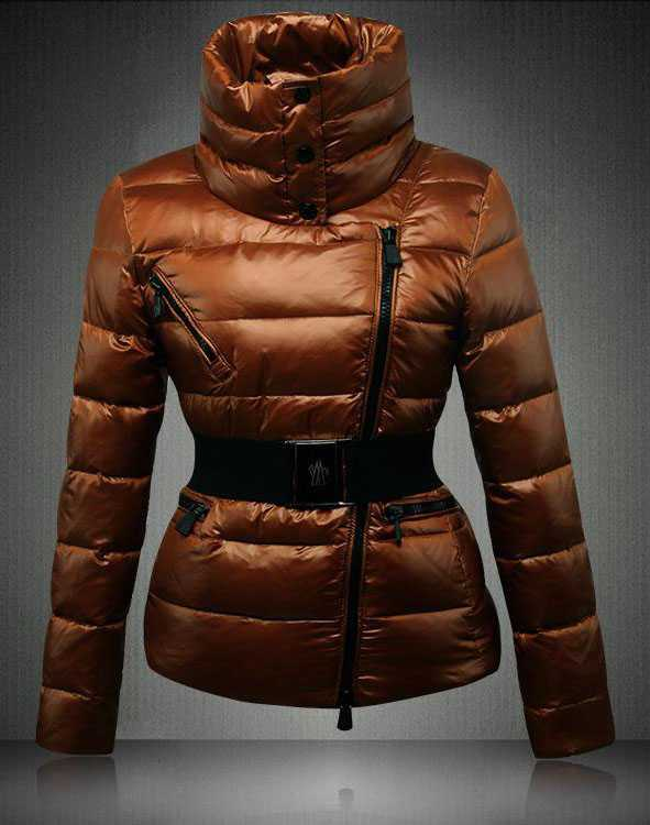 Moncler Angers Women Down Jackets Decorative Belt Coffee
