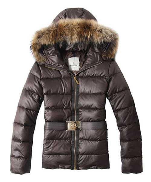 Moncler Angers Women Jackets Decorative Belt Hooded Brown