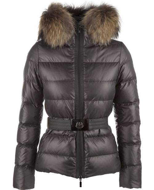 Moncler Angers Womens Jackets Decorative Belt Hooded Dark Gray