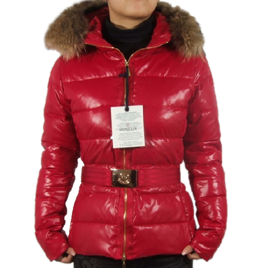Moncler Angers belt down coat red zip