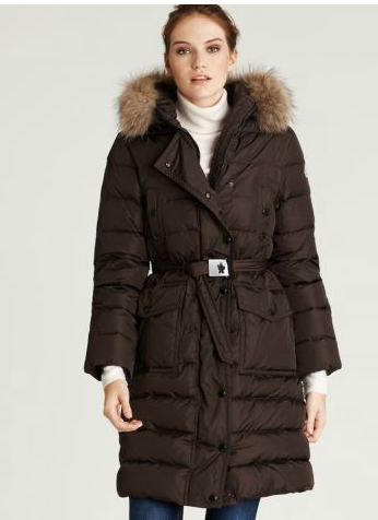 Moncler Armoise Coat For Women Coffee Long