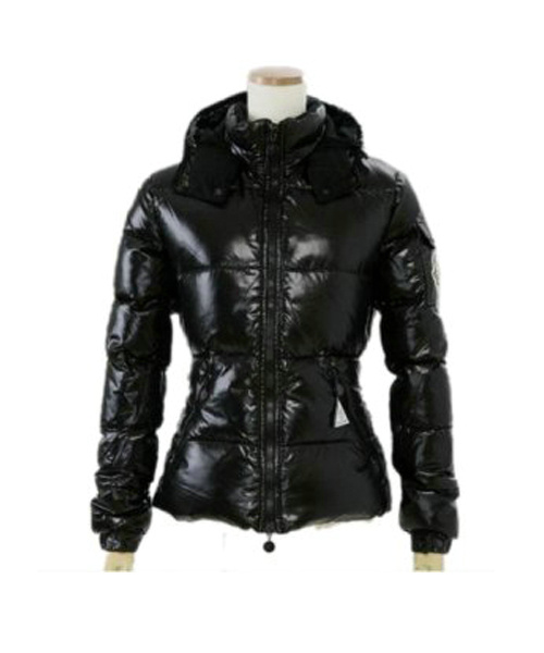 Moncler Badia Very Shiny Womens Down Jackets Black