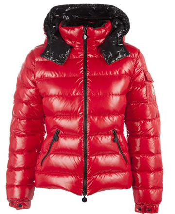Moncler Bady Quilted Down Coat For Women Hooded Parka Red