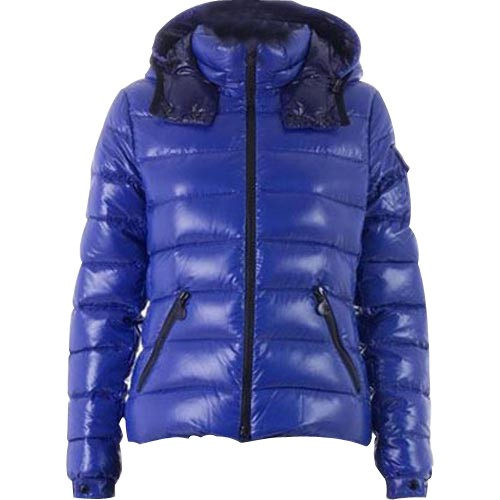Moncler Bady Quilted Hooded Blue Jacket Women