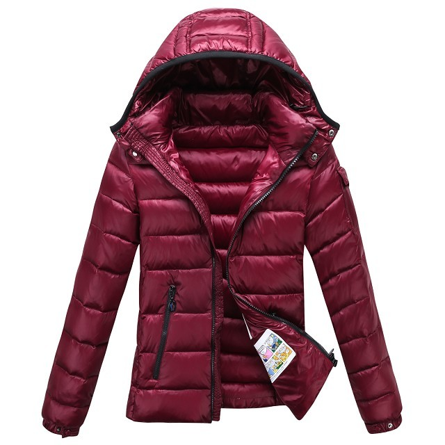Moncler Bady Winter Women Down Jacket Zip Hooded Dark Red