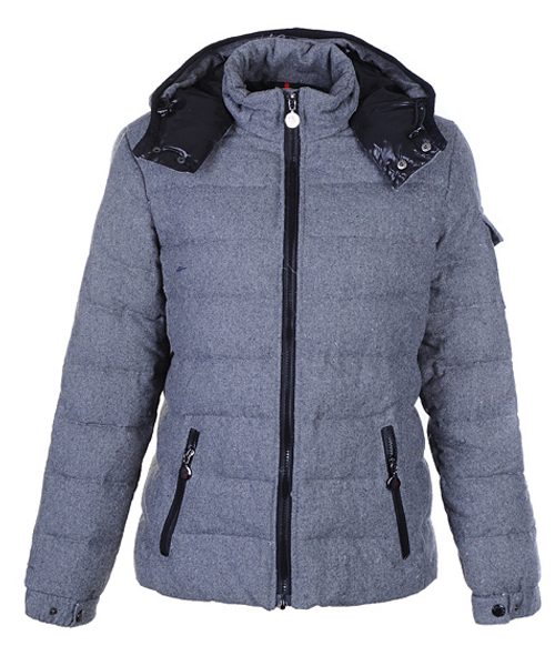 Moncler Bady Winter Women Down Jacket Zip Hooded Light Gray