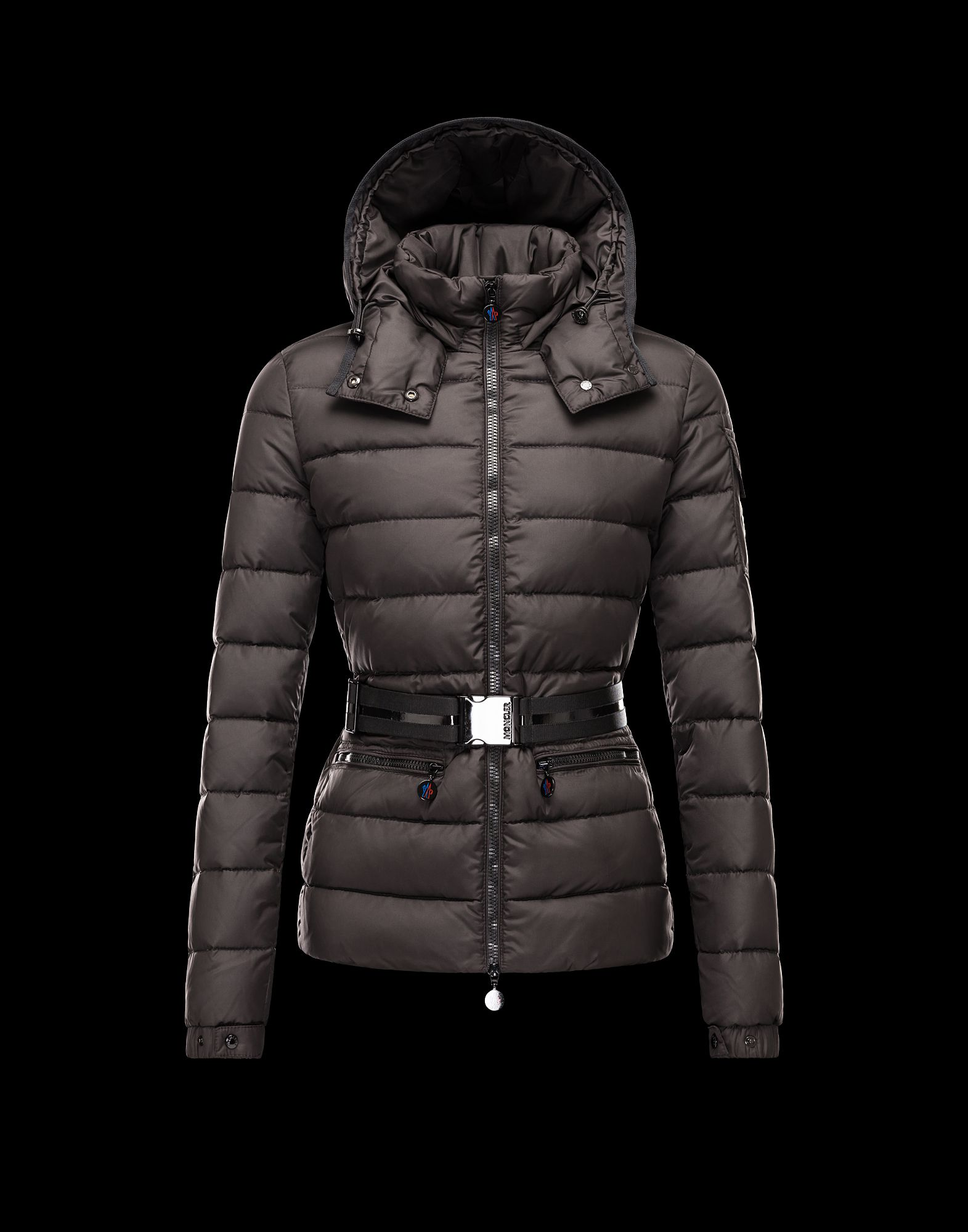 Moncler Bea Euramerican Style Women Jackets Zip Belt Brown