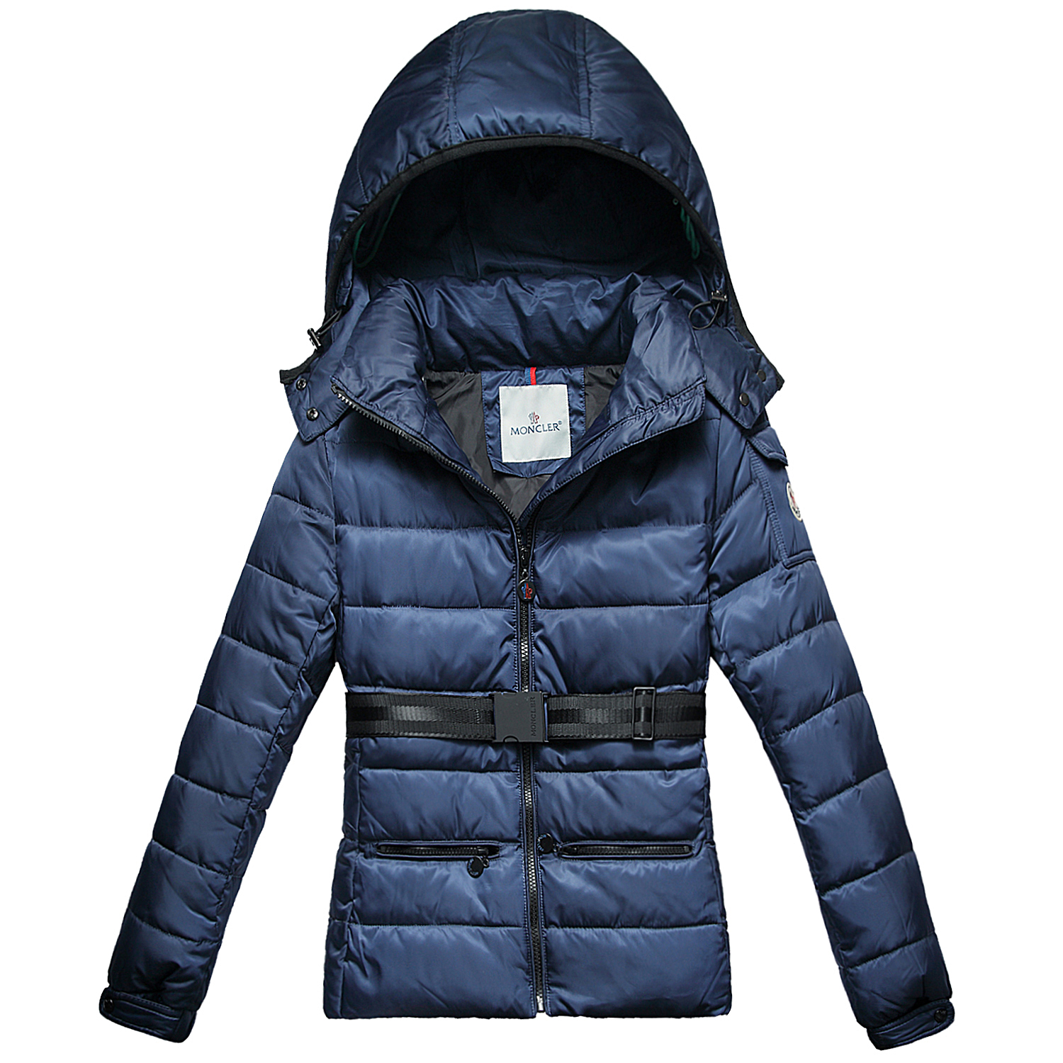 Moncler Bea Euramerican Women Jackets Zip Belt Blue