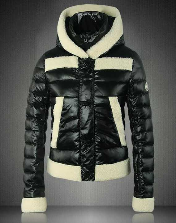 Moncler Blended Collar Style Women Down Jackets Black