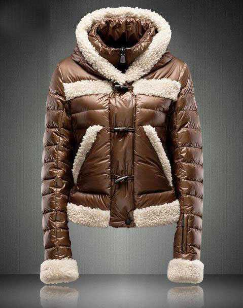 Moncler Blended Collar Style Women Down Jackets Coffee