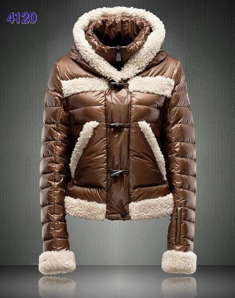 Moncler Blended Collar Women Down Jackets Coffee