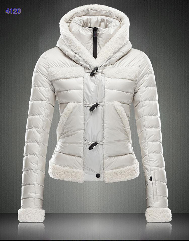 Moncler Blended Collar Women Down Jackets White