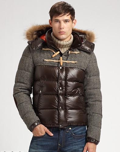 Moncler Men's Jacket Anthime Brown Leather Jacket