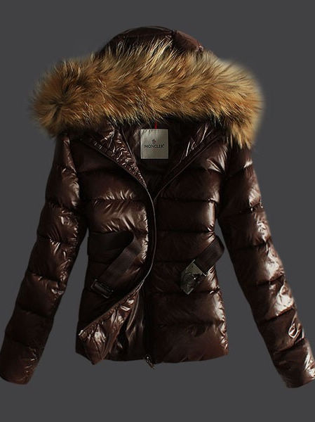 Moncler women jackets parka Angers brown hood