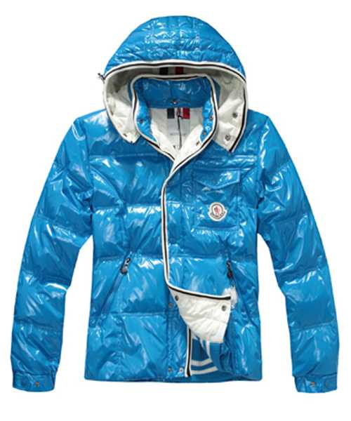 Moncler Branson Classic Mens Down Jackets With Hat Sky Blue