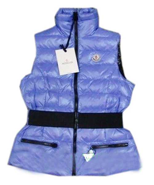 Moncler Branson Women Down Vest Belt Decorative Light Blue