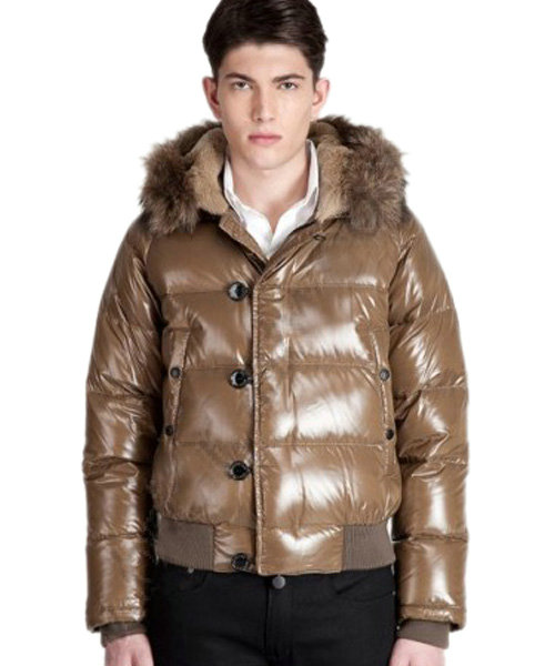 Moncler Bulgarie Men Down Jackets Short Coffee