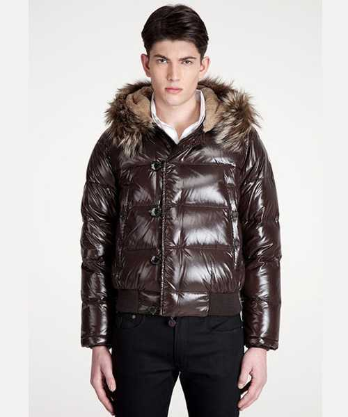 Moncler Bulgarie Mens Down Jackets Short Brown
