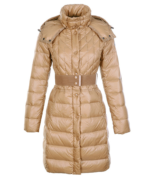 Moncler Down Coats Women Belt Decoration Khaki