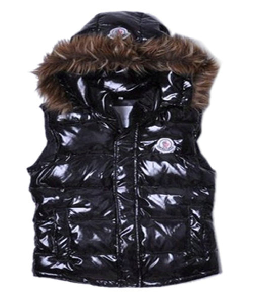 Moncler Sleeveless Down Vest Women Button Hat Black