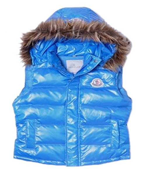 Moncler Sleeveless Down Vest Women Button Hat Blue