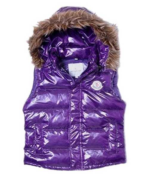 Moncler Sleeveless Down Vest Women Button Hat Purple
