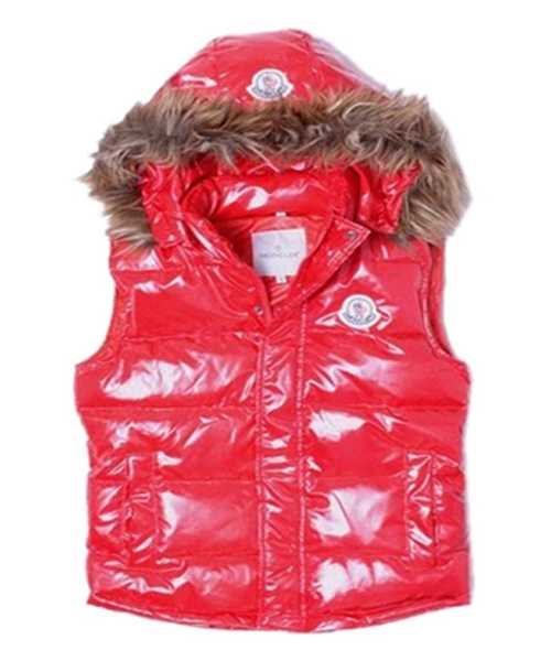 Moncler Sleeveless Down Vest Women Button Hat Red