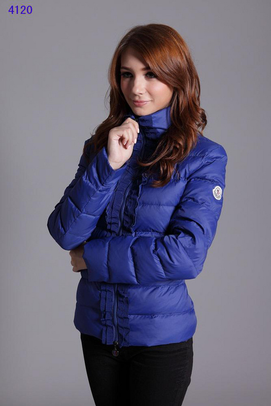 Moncler Clairy Leisure Down Jackets Women Round Neck Blue
