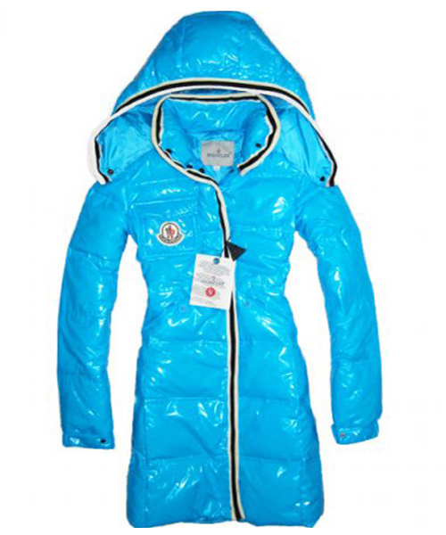 Moncler Classic Down Coat For Women Detachable Cap Sky Blue
