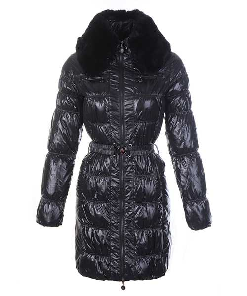 Moncler Classic Down Coat Women Zip Fur Collar With Belt Black