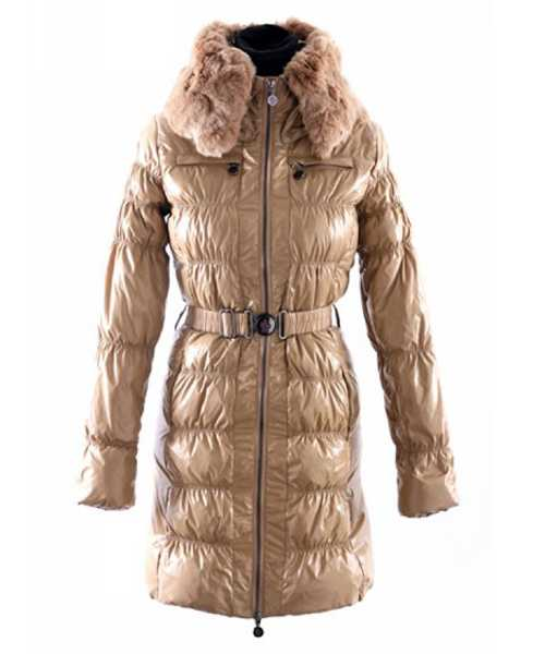 Moncler Classic Down Coat Women Zip Fur Collar With Belt Kahki