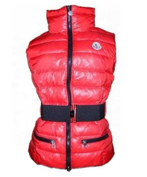 Moncler Classic Down Vest Sleeveless Women Zip Red
