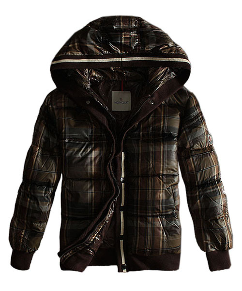 Moncler Classic Men Down Jacket Grid Zip Style Coffee
