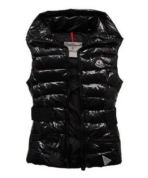 Moncler Classic Sleeveless Vests Women Lapel Black