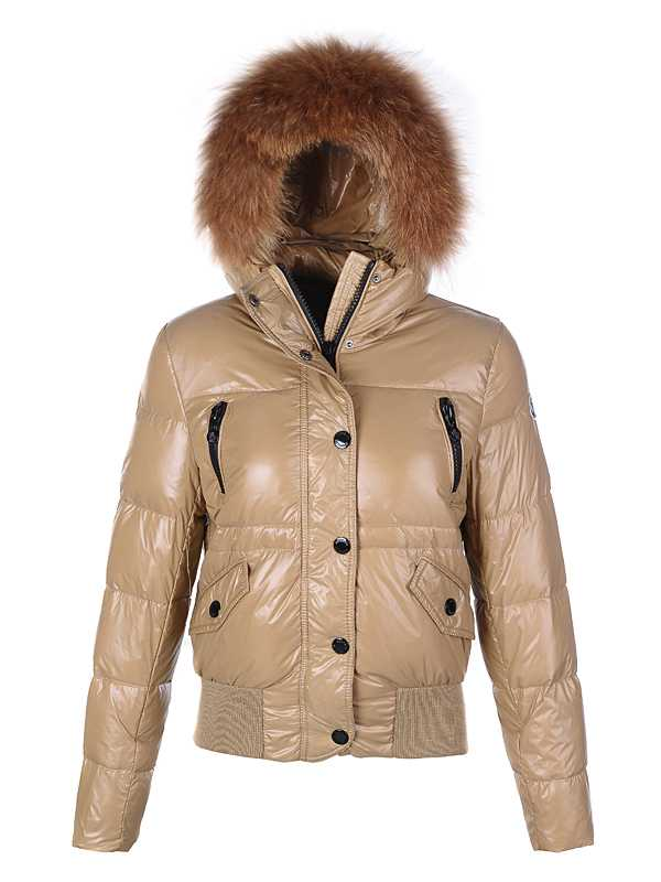 Moncler Classic Women Down Jackets Single Breasted Slim Khaki