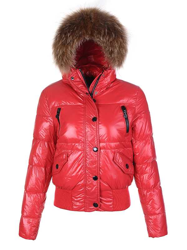 Moncler Classic Women Down Jackets Single Breasted Slim Red