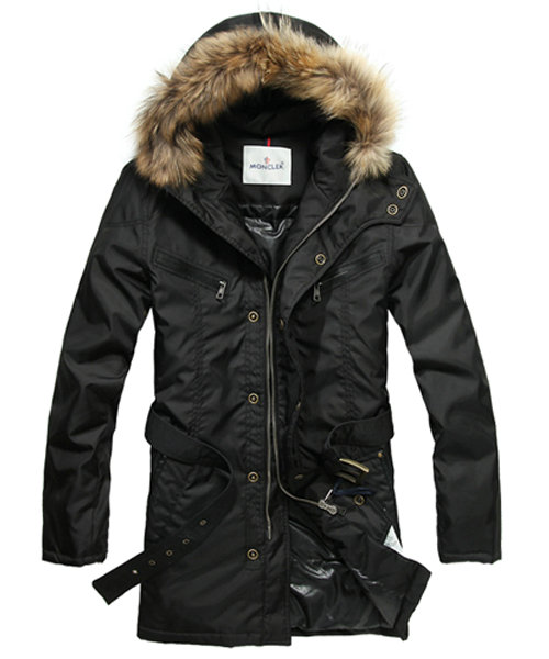 Moncler Coat Men Hooded Fur Collar Black