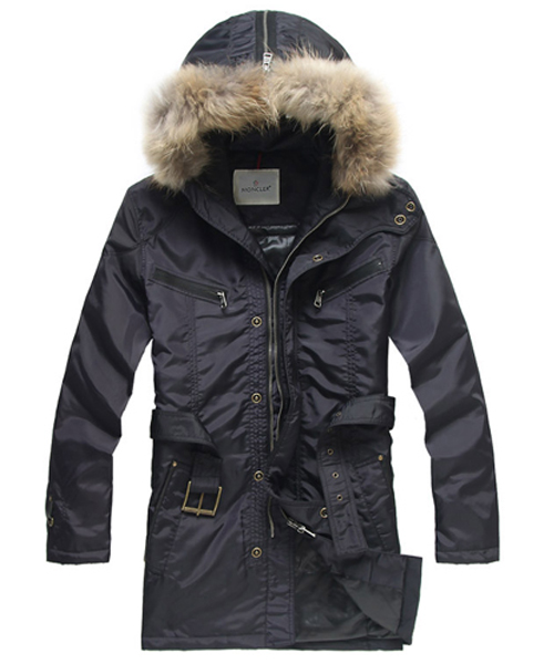 Moncler Coat Men Hooded Fur Collar Blue