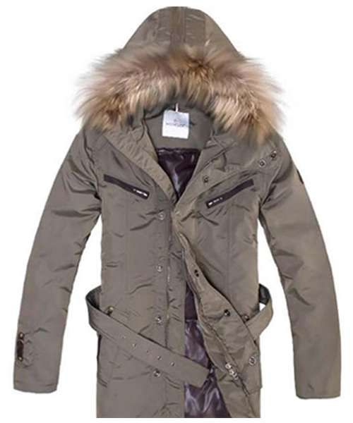 Moncler Coat Men Hooded Fur Collar Brown
