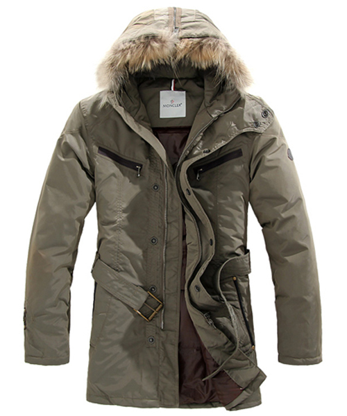 Moncler Coat Men Hooded Fur Collar Khaki